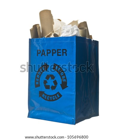 Blue bag with paper recycling - stock photo