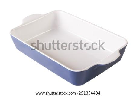 Blue baking dish empty isolated on white background. Horizontal close-up - stock photo