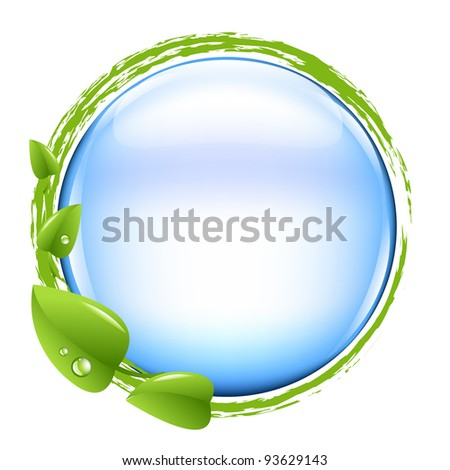 Blue Ball And Green Leafs - stock photo