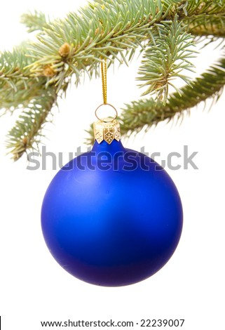 Blue  ball and pine branch isolated on white background
