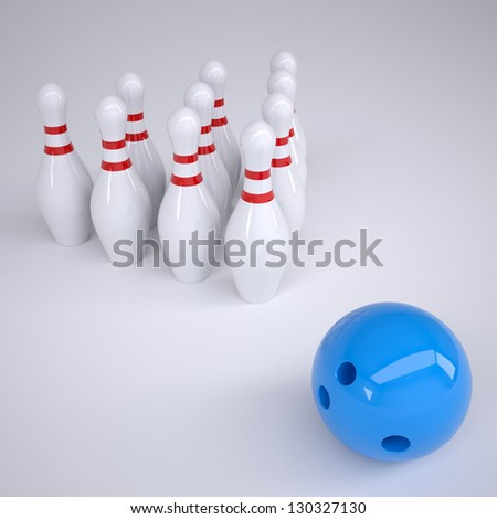 Blue ball and skittles for bowling. Render on a gray background - stock photo