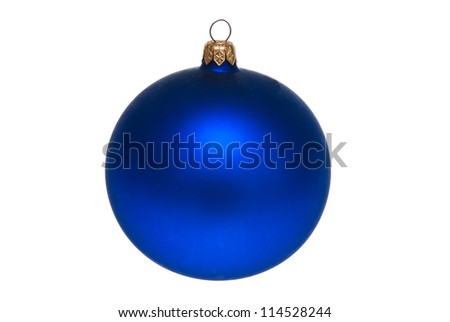Blue ball. Christmas Christmas decorations. Isolated on white. - stock photo