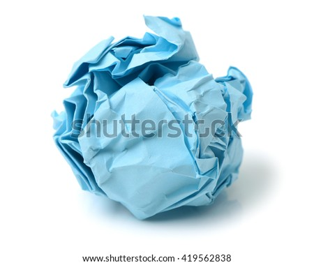 blue ball crumpled paper on a white background