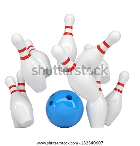 Blue ball knocks down pins for bowling. Isolated render on a white background