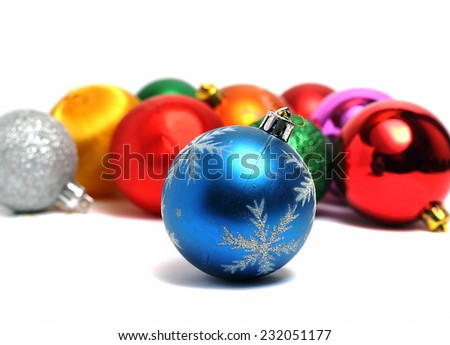 blue ball on the background of other Christmas decorations