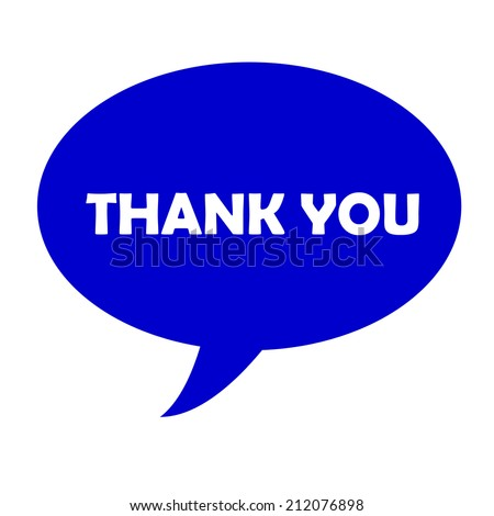blue balloon with white word of thank you on a white screen
