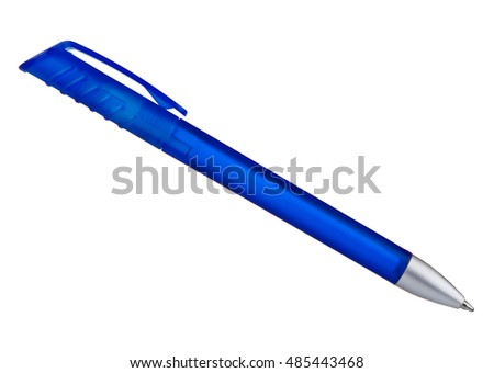 blue ballpoint pen isolated on a white background