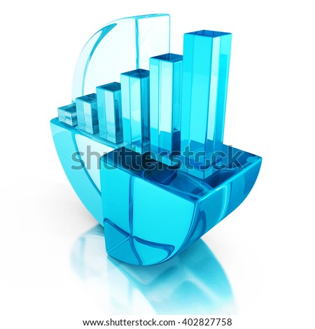 Blue bar and pie graph on reflection. business success concept 3d render iluustration - stock photo