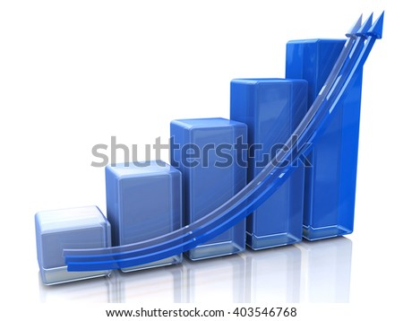 Blue bar chart and arrow depicting growth of profits.3D Illustration - stock photo