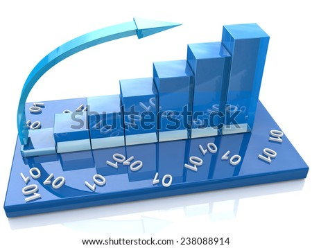 Blue bar chart and numbers, data  - stock photo