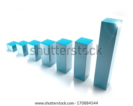 blue bar graph isolated on white background