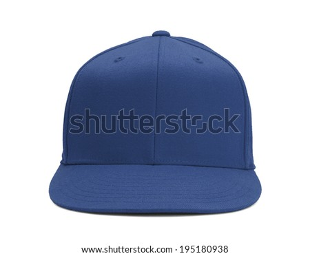Blue Baseball Hat Front View With Copy Space Isolated on White Background.