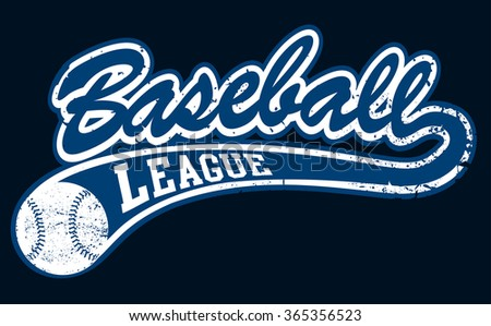 Blue baseball league banner with ball .