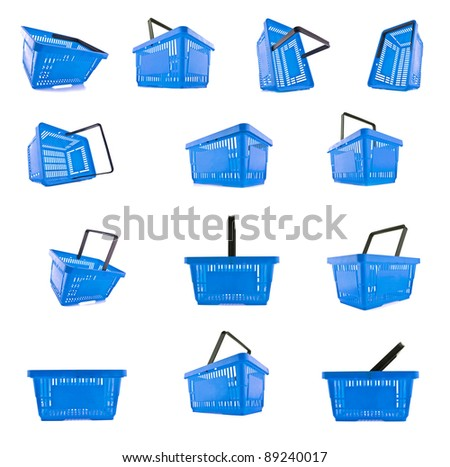 blue baskets in a collage - stock photo