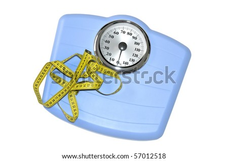 Blue bathroom scale and measuring tape isolated in white