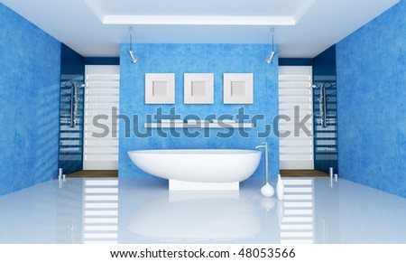 blue bathroom with fashion bathtub and double shower - rendering
