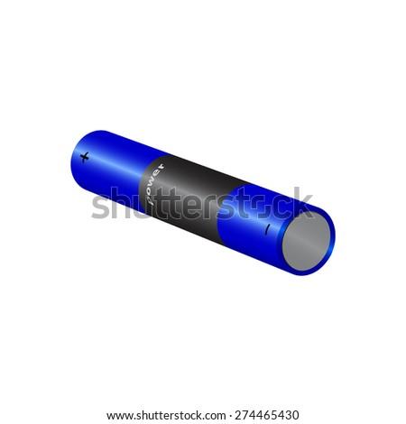 blue battery isolated on white background. raster illustration - stock photo