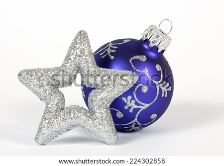 Blue bauble on the white background - stock photo