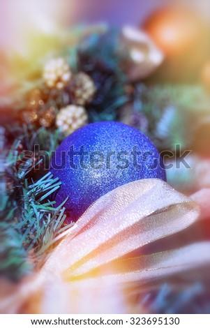Blue bauble - xmas ball - stock photo