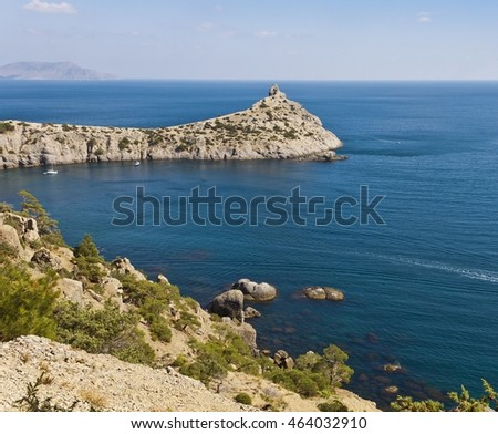 Blue Bay and the ancient coral reef -Cape Kapchik.Crimea.