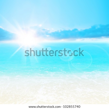 Blue beach background, peaceful summer landscape, beautiful nature abstract card, bright sun shining and calm sea, deep ocean water, vacation and travel - stock photo