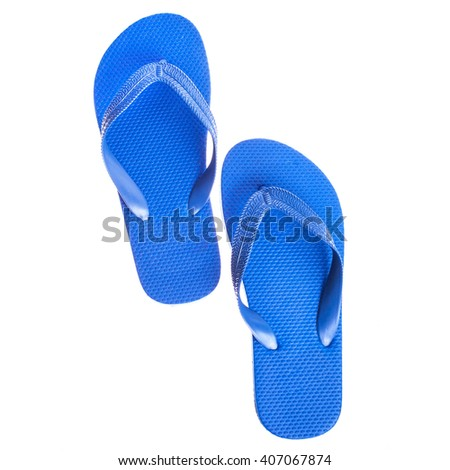 blue beach rubber sandals flip flops   isolated on white background