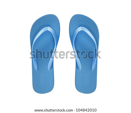 blue beach shoes isolated on white background - stock photo