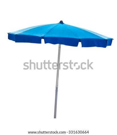 Blue beach umbrella isolated on white with clipping path - stock photo