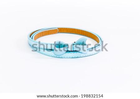 blue belt on white background - stock photo