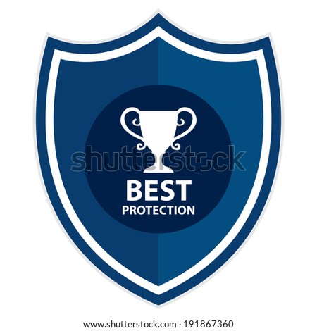Blue Best Protection Shield, Icon, Label, Sticker or Badge Isolated on White Background  - stock photo