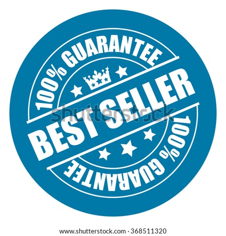 Blue Best Seller 100% Guarantee Campaign Promotion, Product Label, Infographics Flat Icon, Sign, Sticker Isolated on White Background
