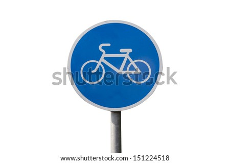 Blue bicycle lane sign isolated on white with clipping path - stock photo
