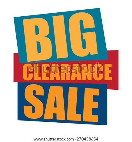 blue big clearance sale sticker,  icon,  label, banner, sign isolated on white  - stock photo