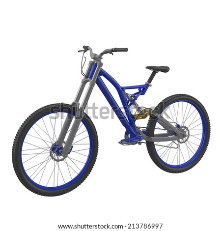 Blue bike isolated on a white background