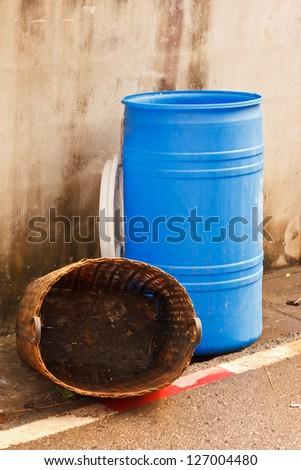 Blue bins - stock photo