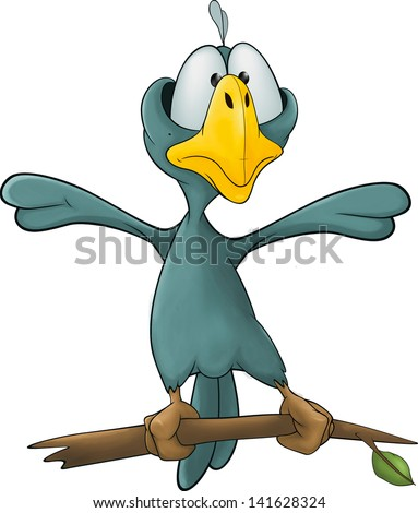 Blue bird cartoon - stock photo