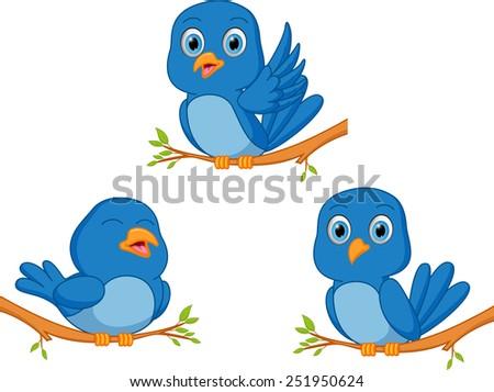 blue bird cartoon  - stock photo