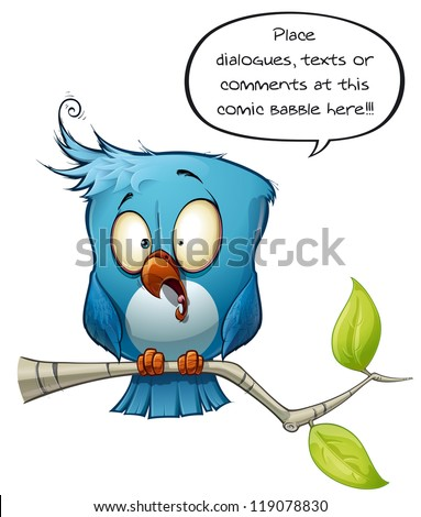 Blue Bird Freaking Out - stock photo