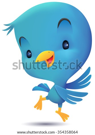 Blue Bird jumping and dancing - stock photo