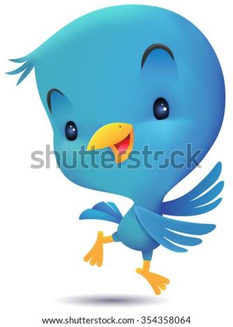 Blue Bird jumping and dancing - stock photo