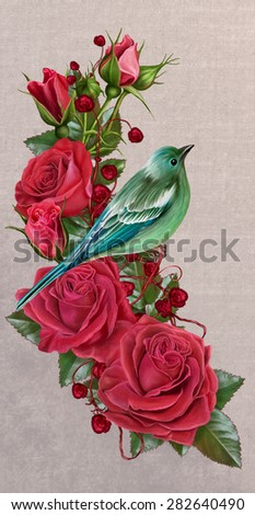 Blue Bird on a bush of red roses - stock photo