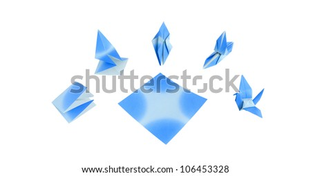 Blue bird Origami on whiite background - stock photo