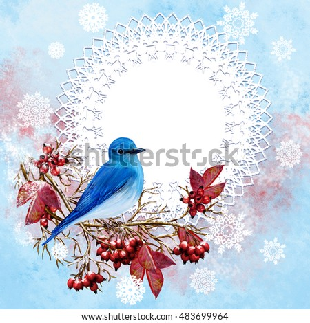 Blue bird sitting on a branch, bright red berries, leaves, winter background, frost, snow. Branch with snow. Vintage postcard, old style. Winter background. Christmas composition.