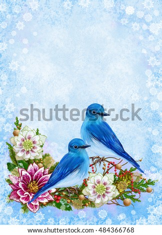 Blue Bird, weaving branches pink flower hellebore, gold snowflakes, colorful berries, Christmas rose, Christmas card. Winter background.