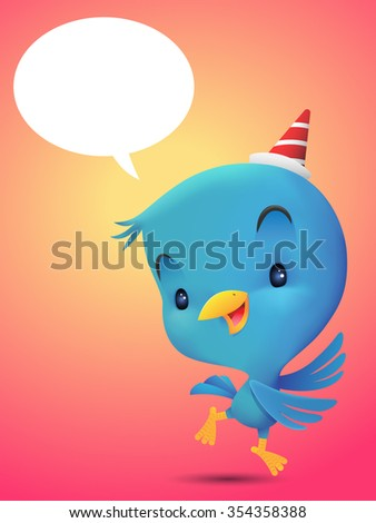 Blue Bird with hat, dancing in red background - stock photo