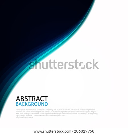 Blue | Black | White Abstract Curves Background - stock photo