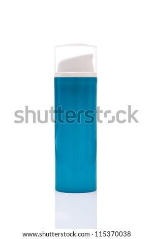 blue blank bottle spray, isolated on white background - stock photo