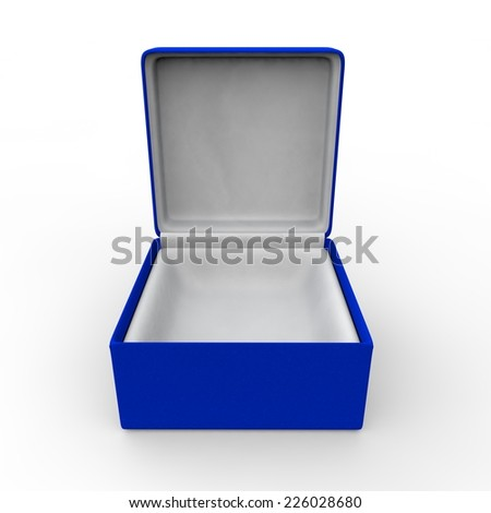 Blue blank gift box for rings and other items - stock photo