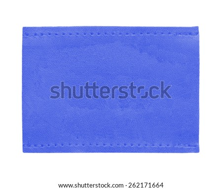 blue blank leather jeans label isolated on white background - stock photo