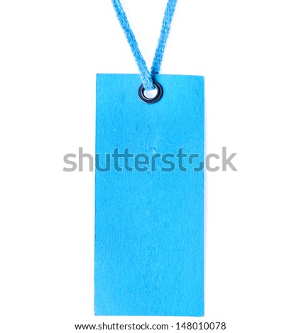 Blue blank price label tag surface with metallic grommet isolated on white background - stock photo